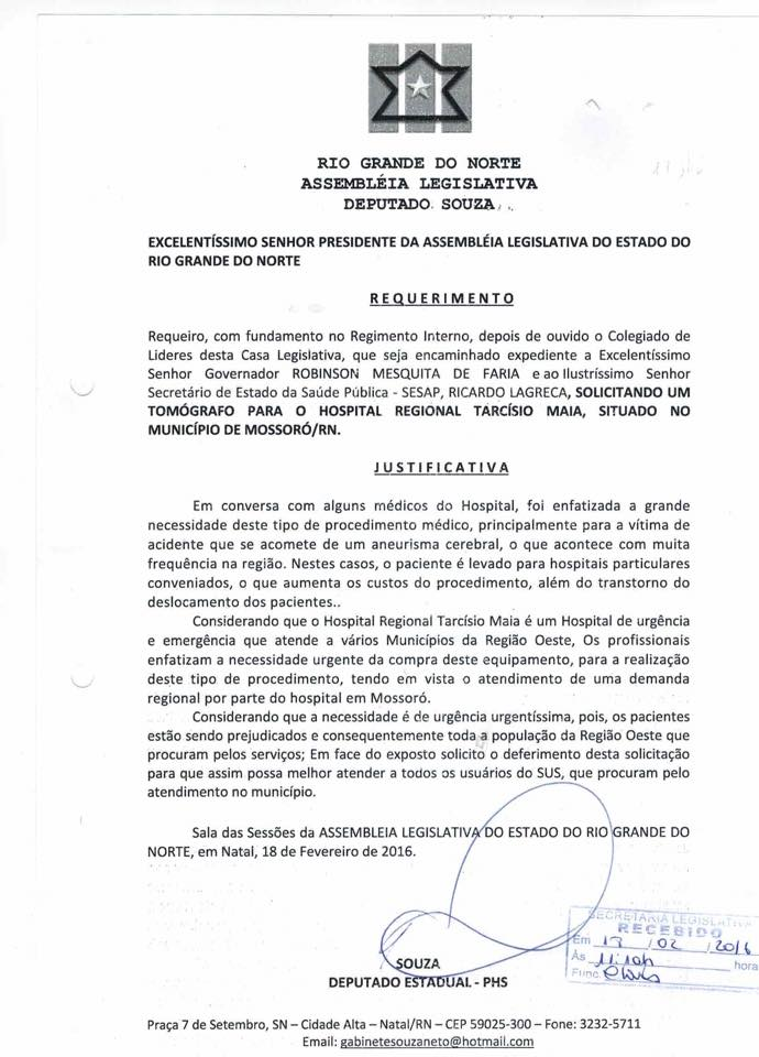 Requerimento de Souza solicitando o tomógrafo para o HRTM
