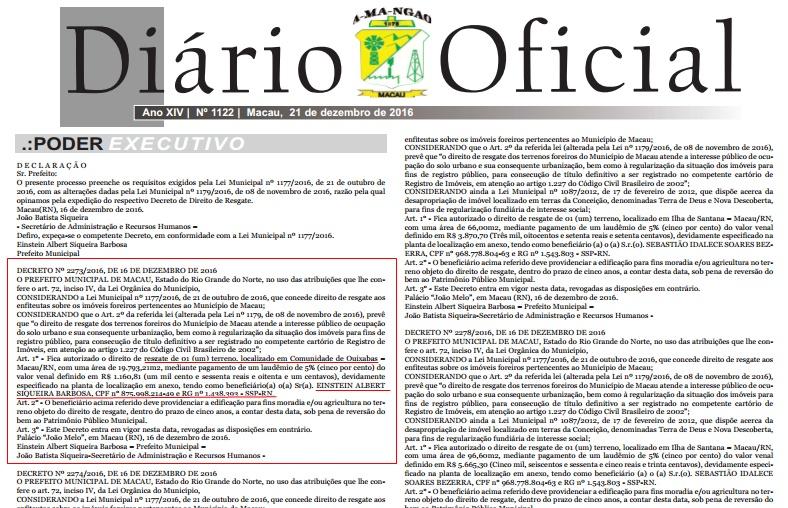 Diário Oficial do Município com a publicação