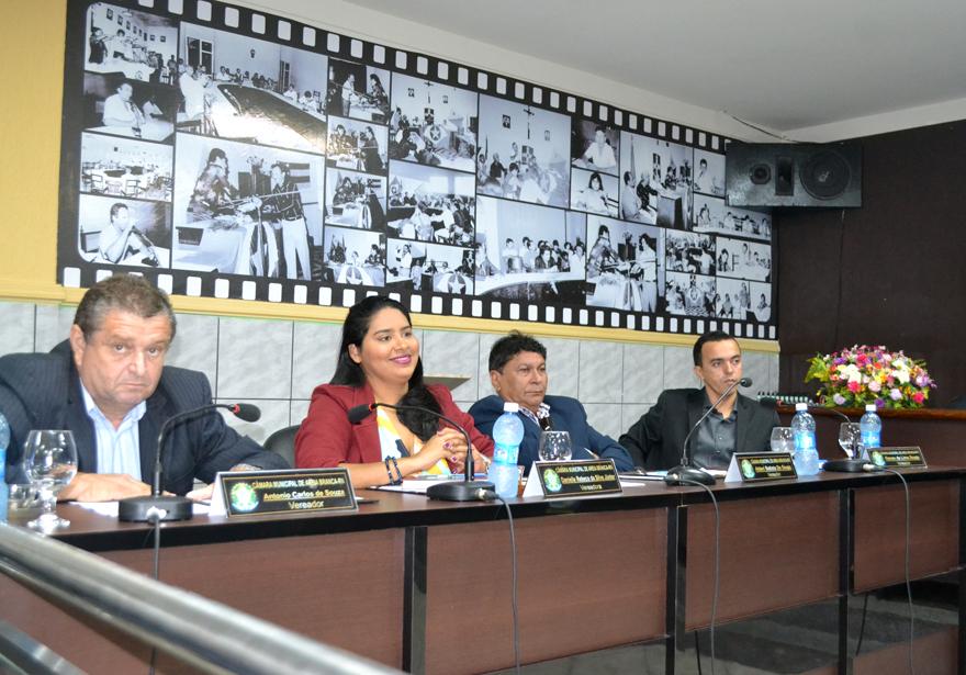 Vereadores Antônio Carlos, Rebeca Melo, Alderi Batista e Renan Souza