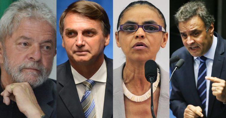 Lula, Bolsonoro, Marina Silva e Aécio, os mais citados na pesquisa (Foto Valter Campanato/Agência Brasil)