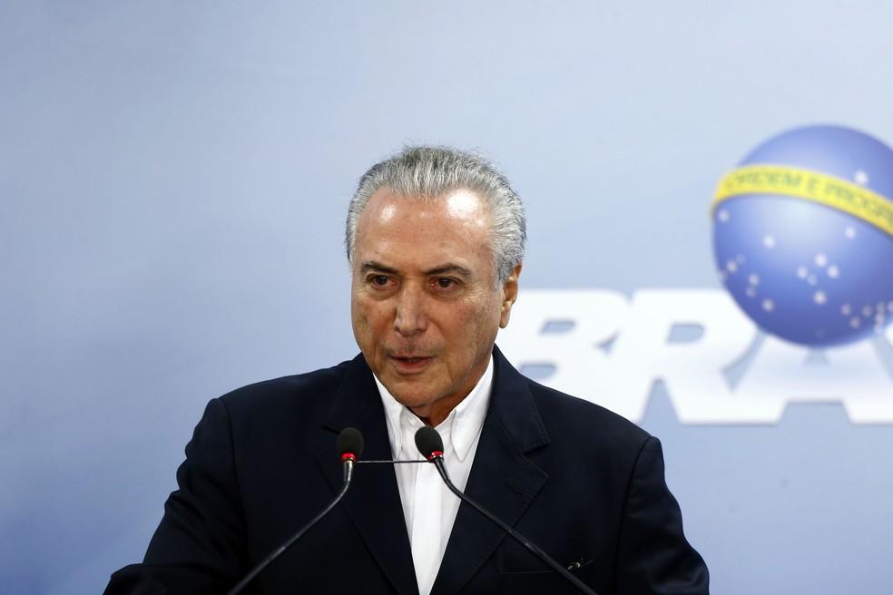 Michel Temer durante pronunciamento  neste sábado (Foto: DIDA SAMPAIO/ESTADÃO CONTEÚDO)
