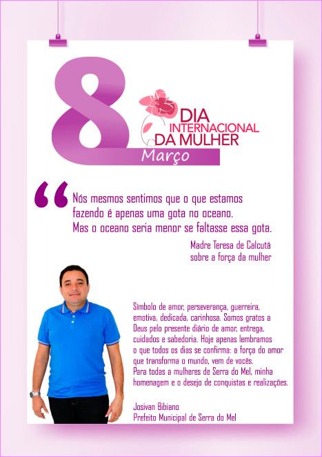 """616117d593f26 Prefeito Bibiano  """"Para todas as mulheres de Serra do Mel, minha homenagem  e o desejo de conquistas e realizações"""""""
